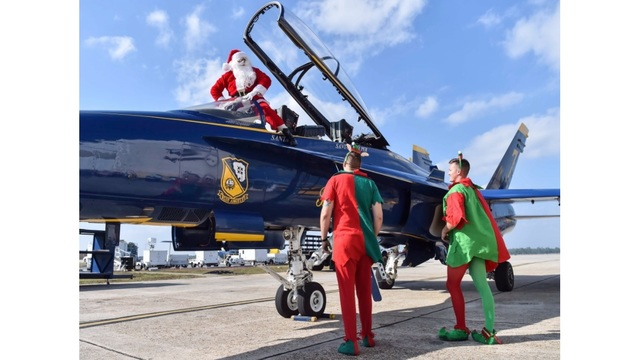 Santa flies with the Blue Angels
