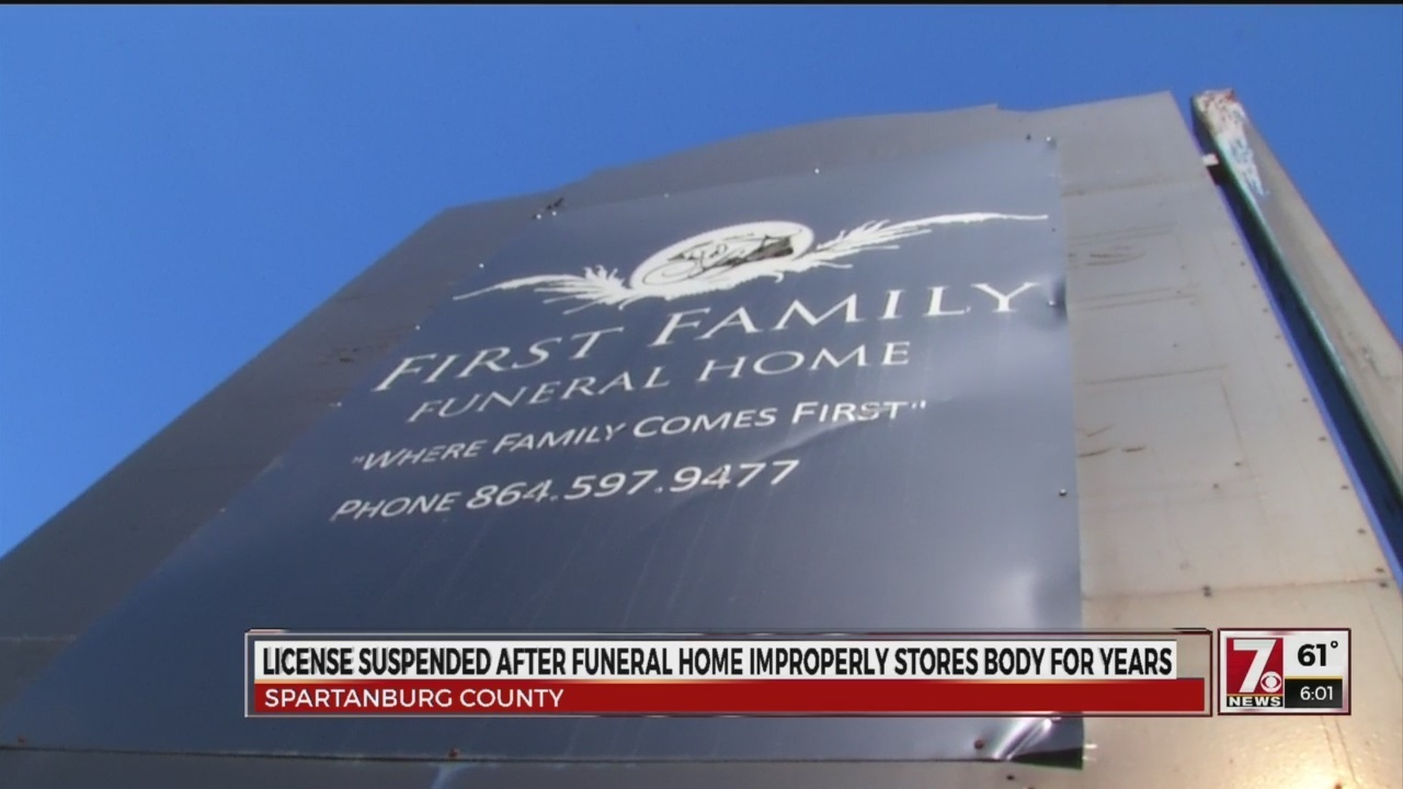 Funeral license suspended after body found stored for years