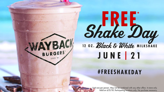 FREE milkshake at Wayback Burgers for first day of summer
