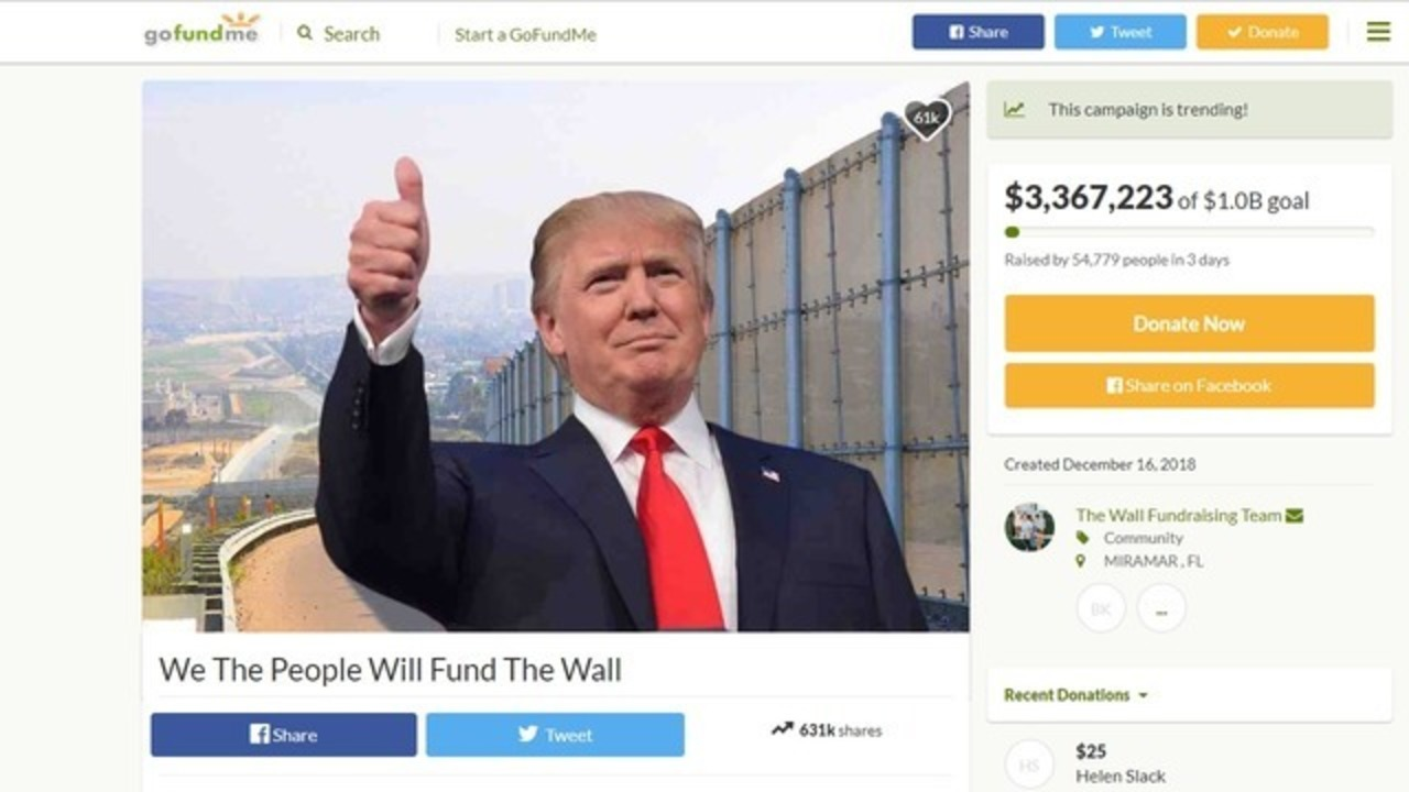 GoFundMe campaign raises $3.5M in 3 days to fund border wall