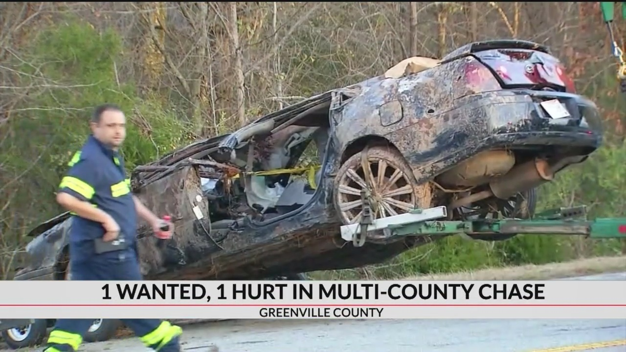 1 wanted, 1 hurt in multi-county chase, crash in Greenville Co