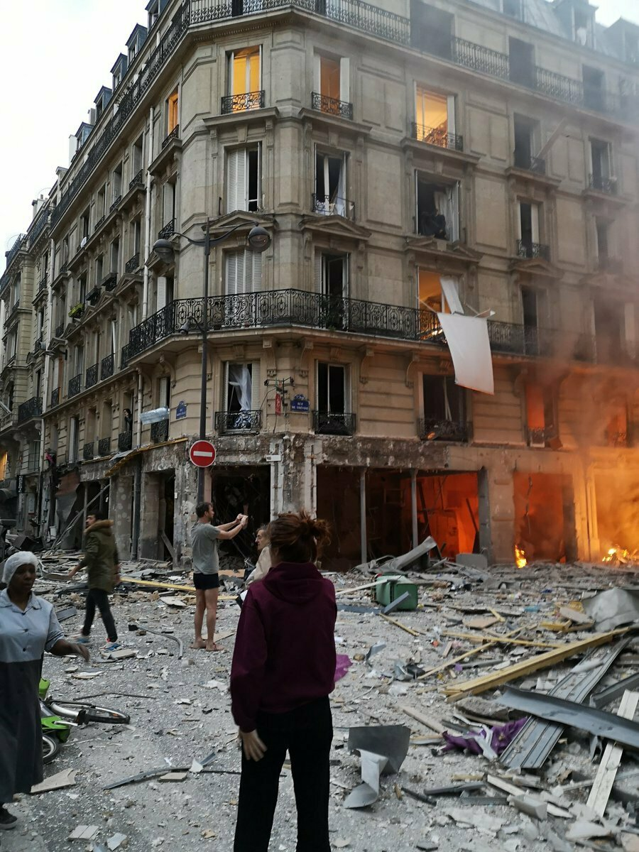 The scene of a gas leak explosion in Paris, France, Saturday, Jan. 12, 2019. (Matthieu Croissandeau via AP)
