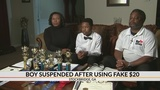 Boy says school suspended him for fake lunch money