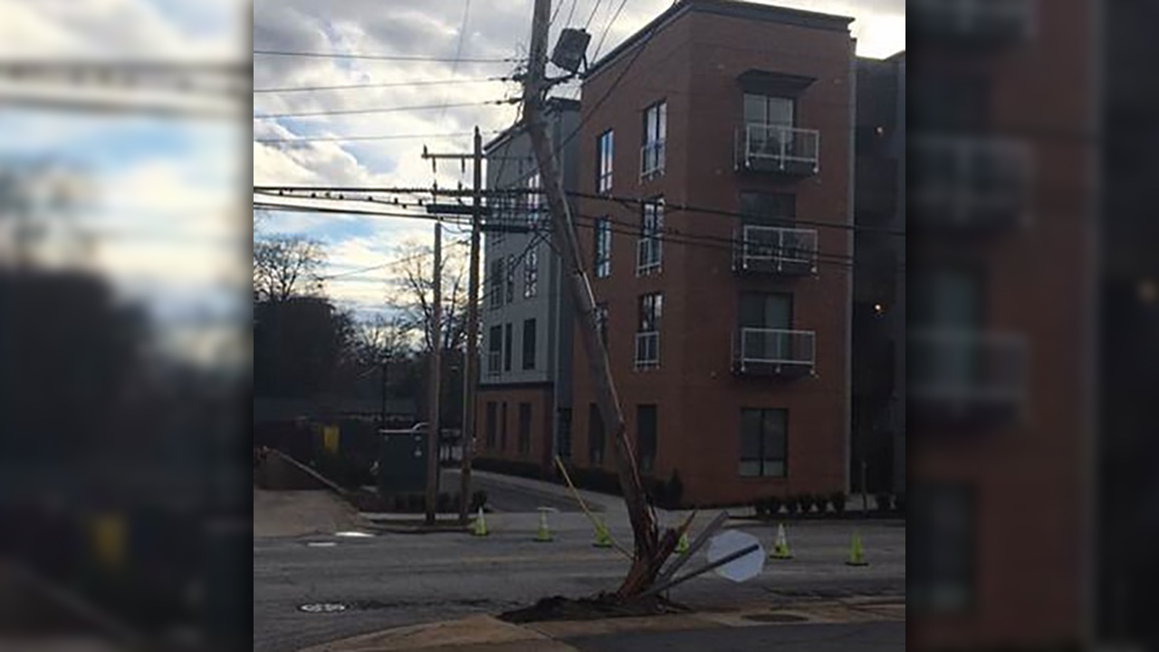 E. Stone Ave. blocked in Greenville after utility pole struck